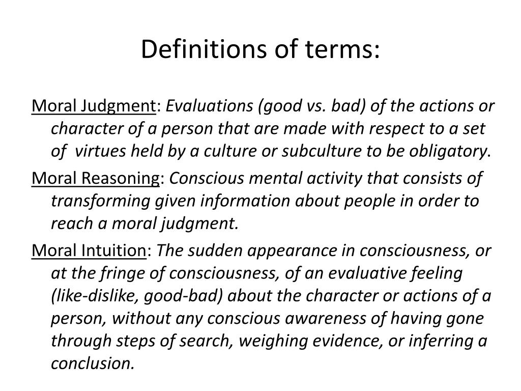 Definitions of terms: