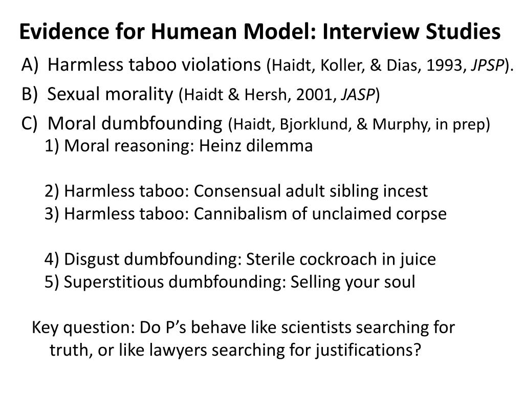 Evidence for Humean Model: Interview Studies