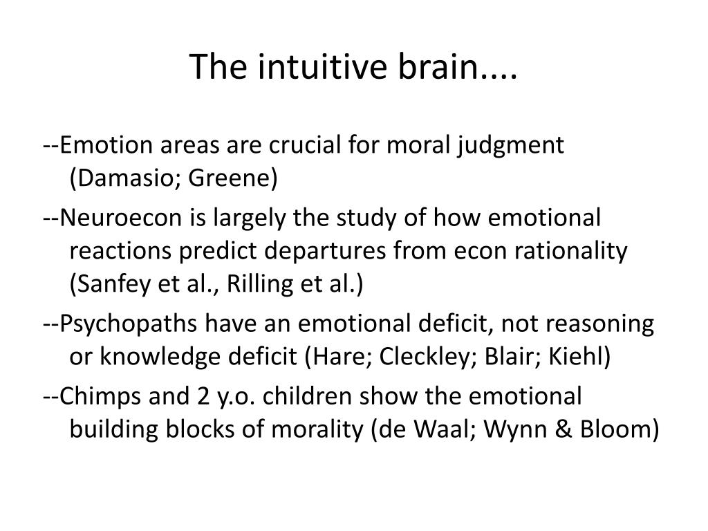 The intuitive brain....