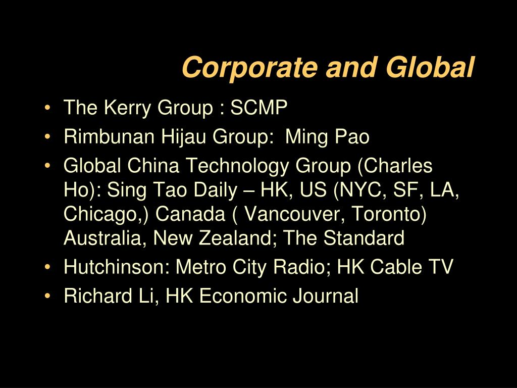 Corporate and Global