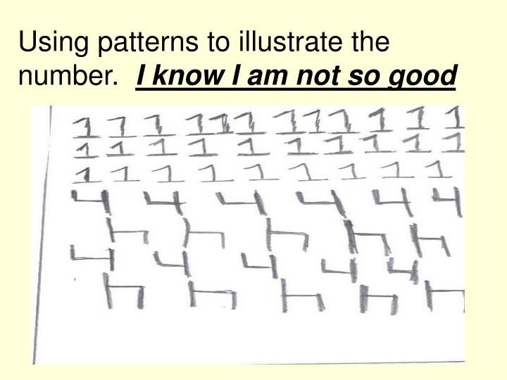 Using patterns to illustrate the number.