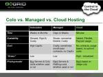 colo vs managed vs cloud hosting