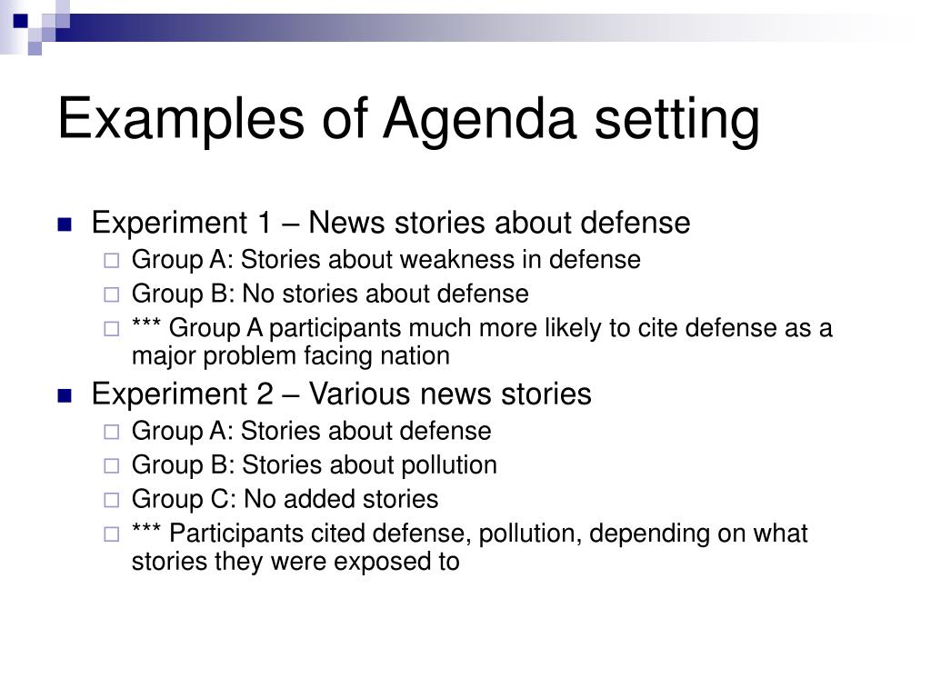 Examples of Agenda setting