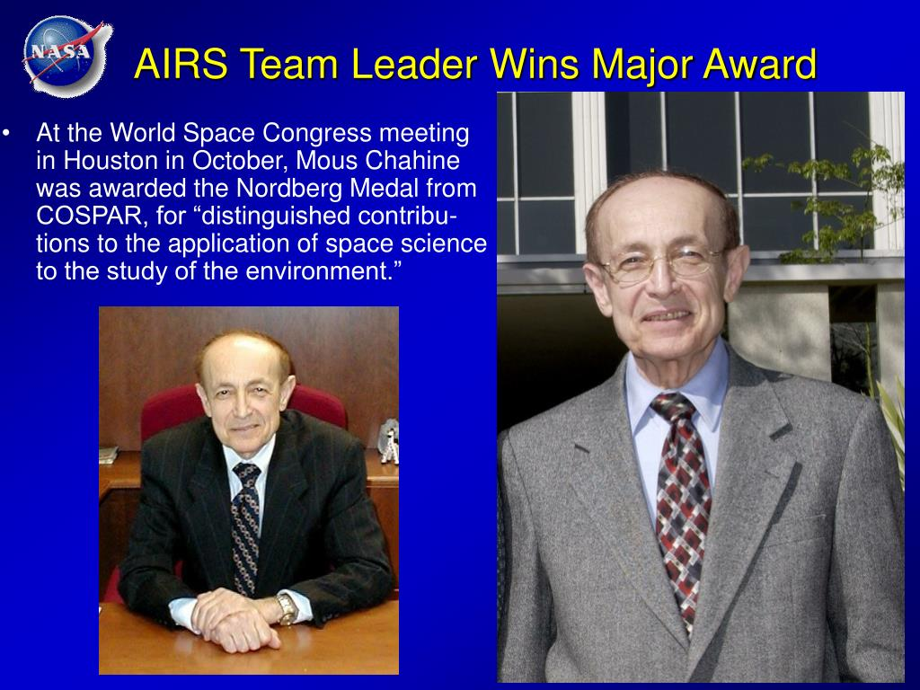 AIRS Team Leader Wins Major Award