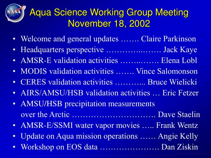 Aqua science working group meeting november 18 2002