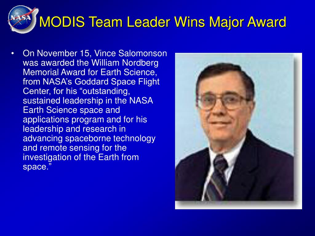 MODIS Team Leader Wins Major Award