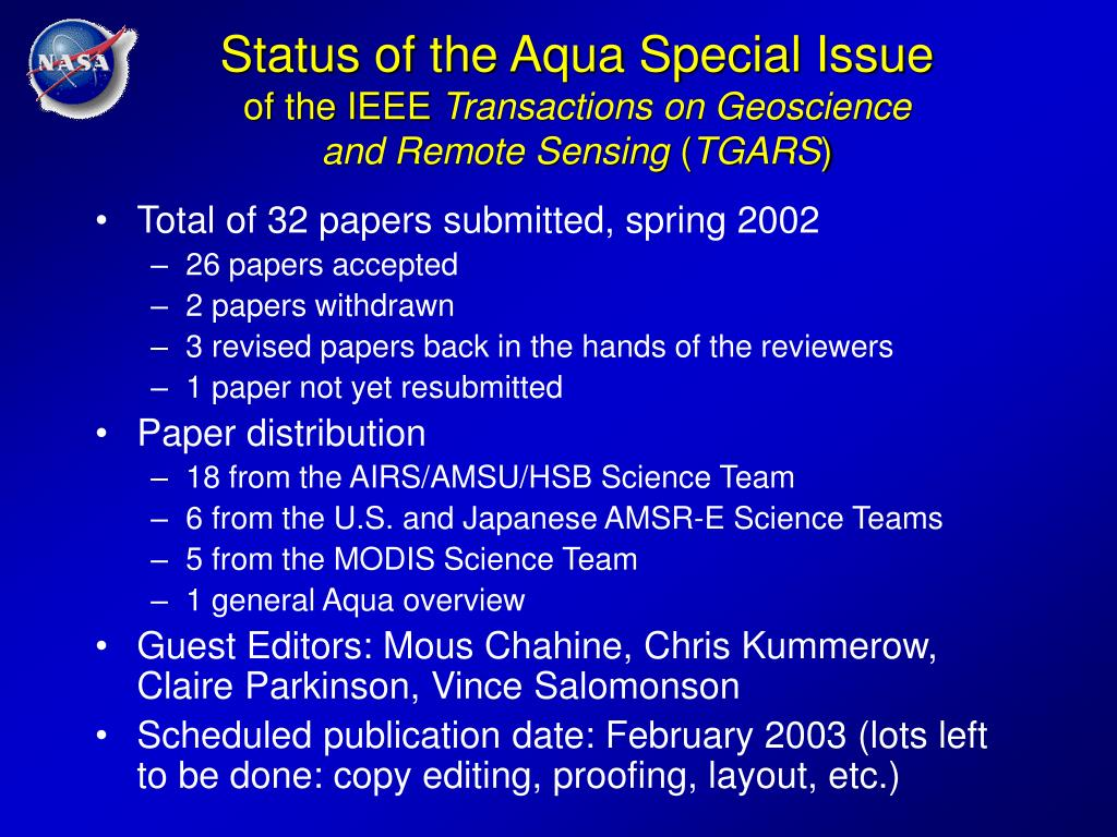 Status of the Aqua Special Issue