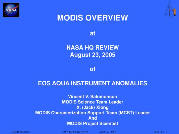 MODIS OVERVIEW