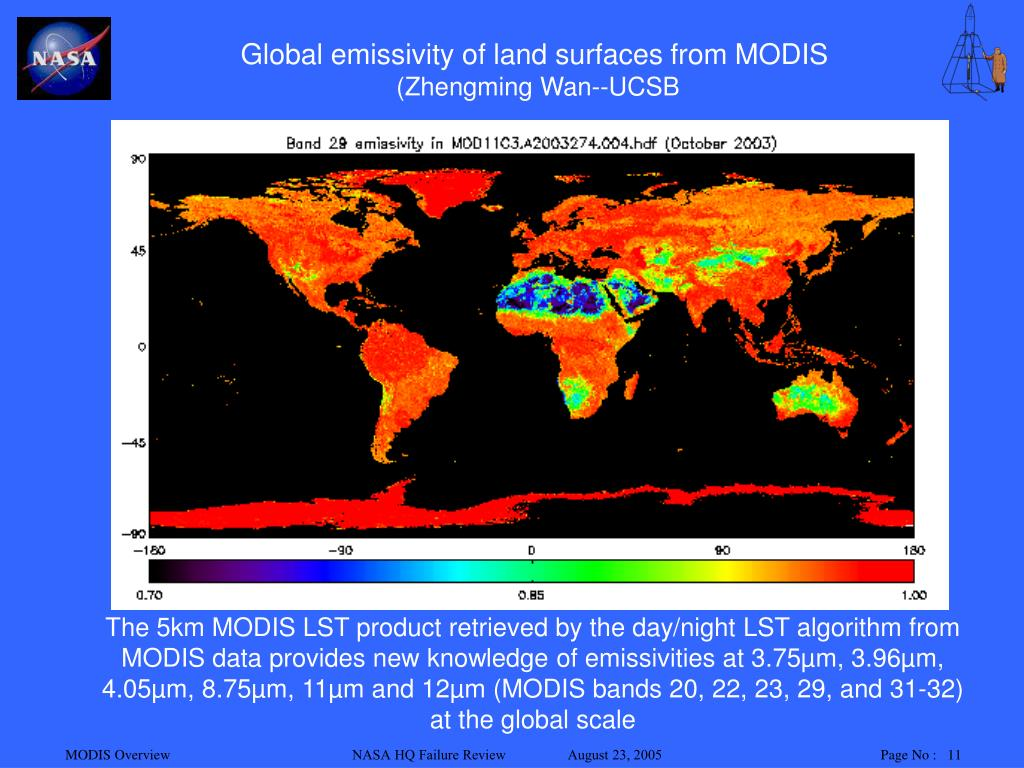 Global emissivity of land surfaces from MODIS