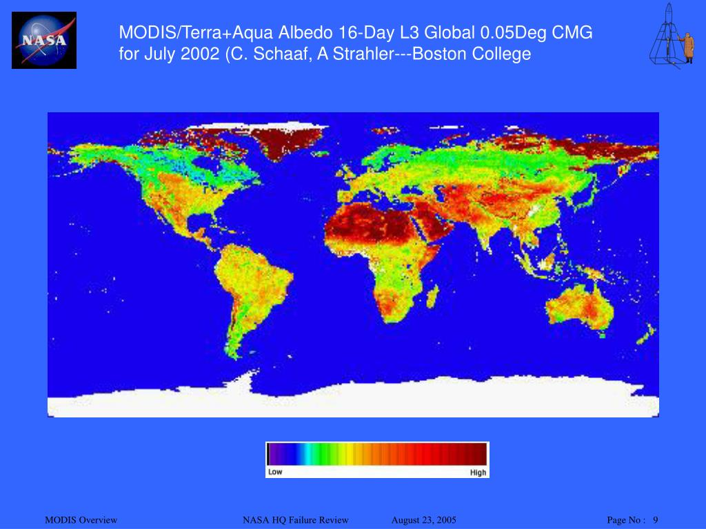 MODIS/Terra+Aqua Albedo 16-Day L3 Global 0.05Deg CMG for July 2002 (C. Schaaf, A Strahler---Boston College