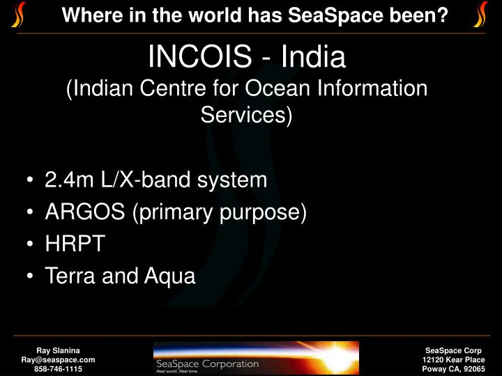 Incois india indian centre for ocean information services