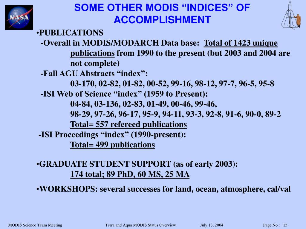 """SOME OTHER MODIS """"INDICES"""" OF ACCOMPLISHMENT"""