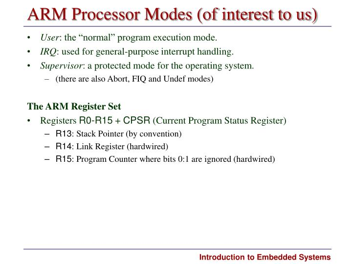 ARM Processor Modes (of interest to us)
