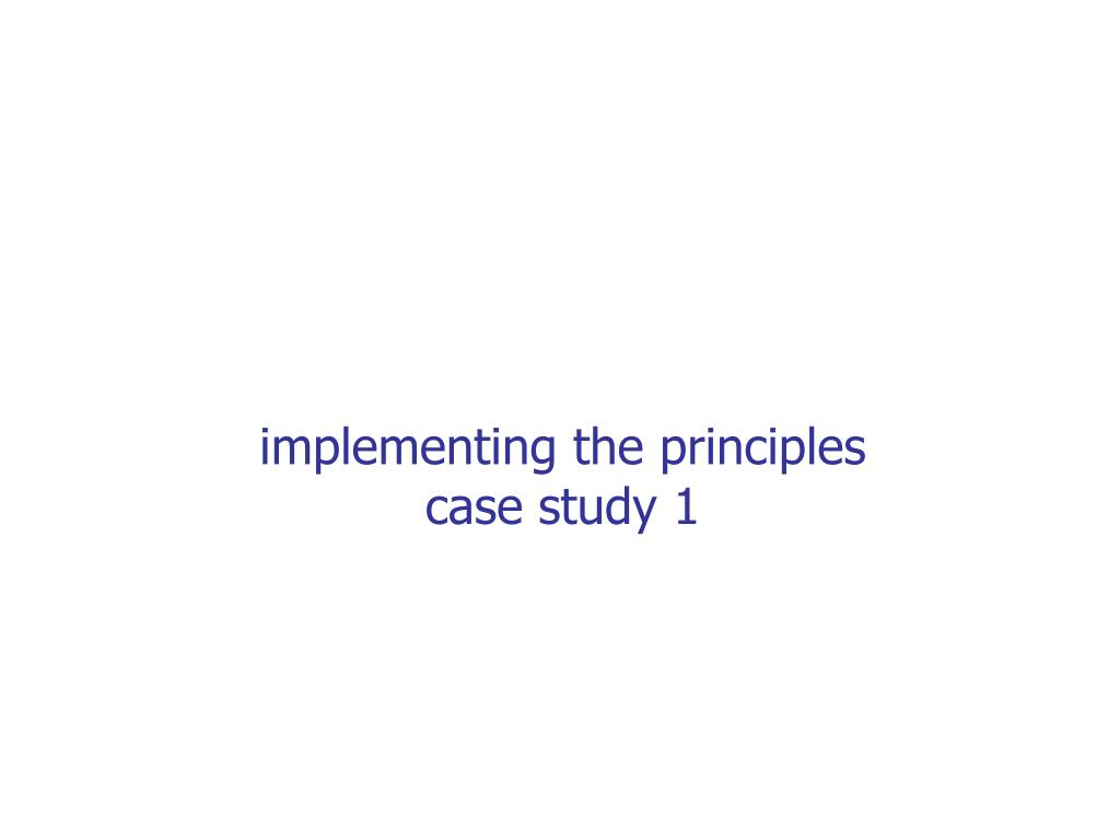 implementing the principles
