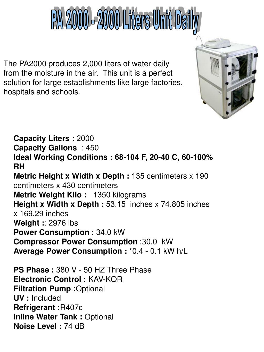 PA 2000 - 2000 Liters Unit Daily