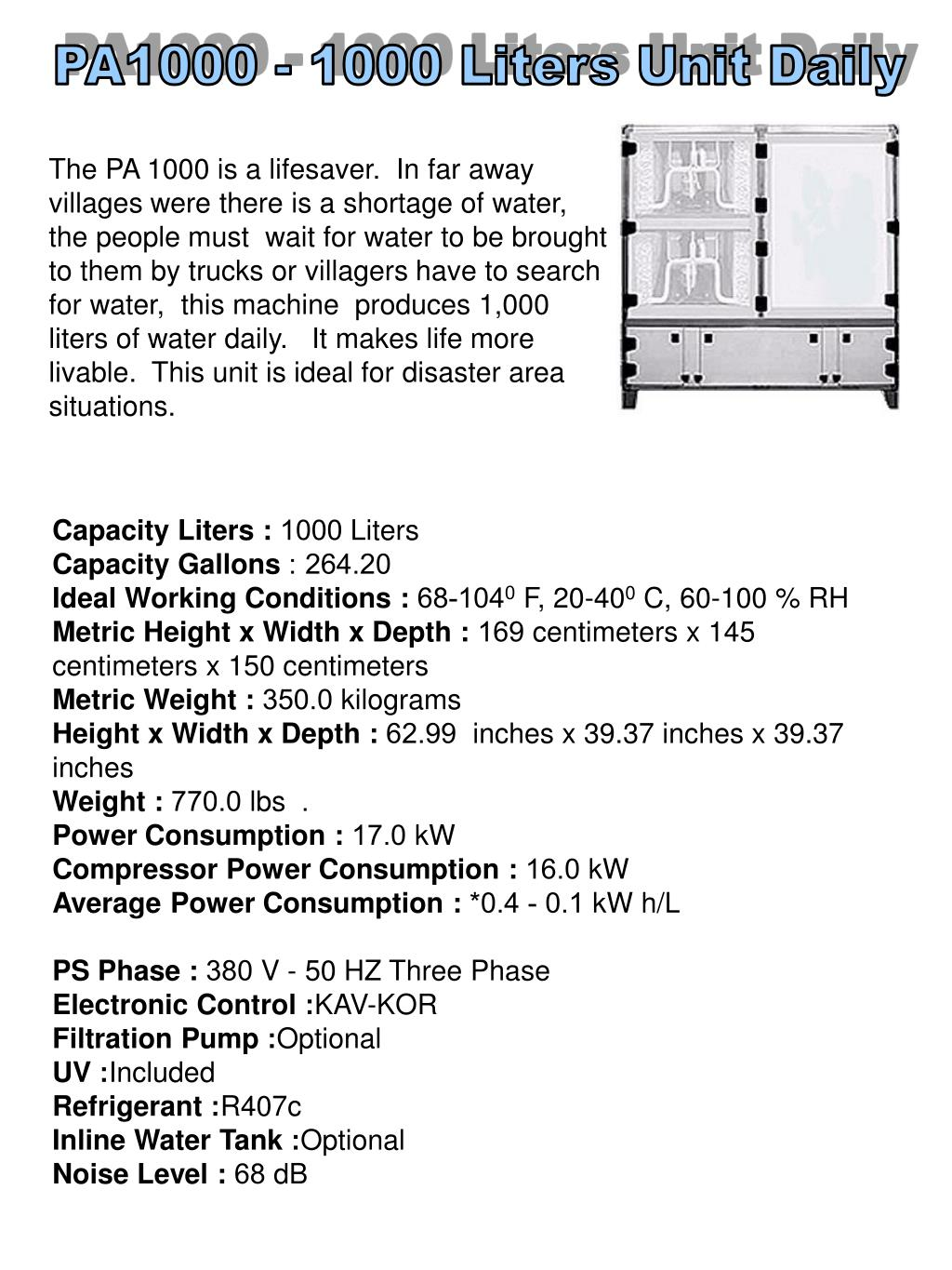 PA1000 - 1000 Liters Unit Daily