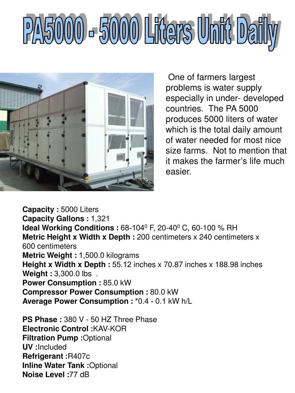 PA5000 - 5000 Liters Unit Daily