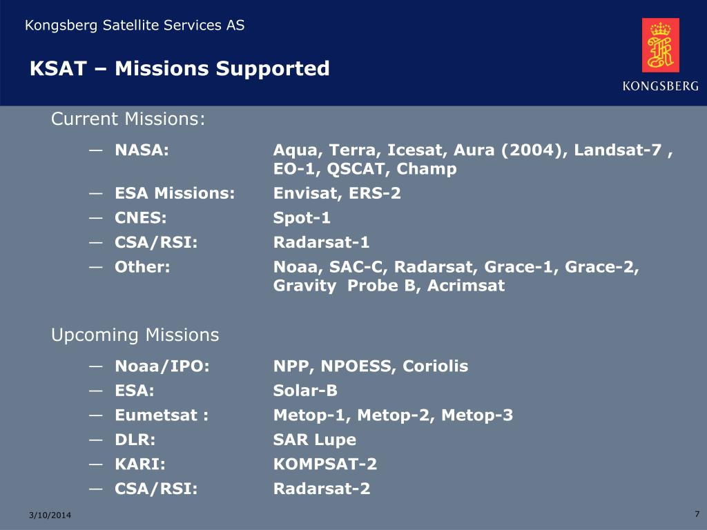 KSAT – Missions Supported