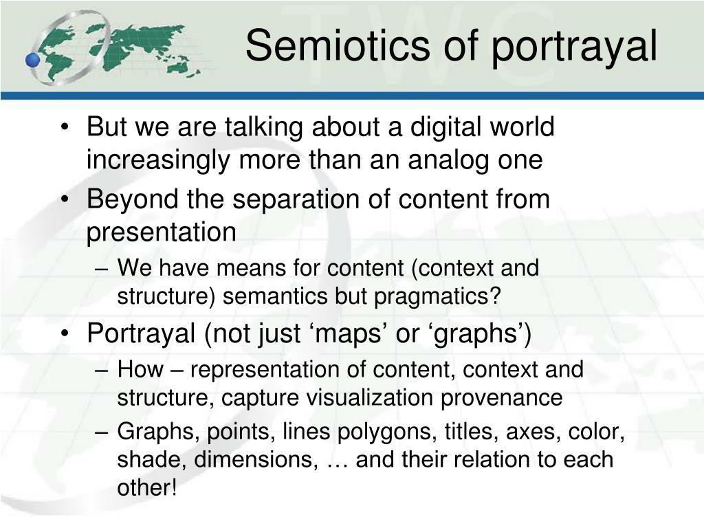 Semiotics of portrayal