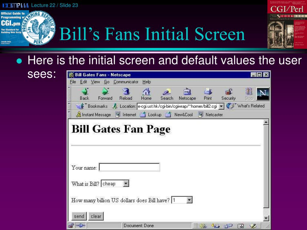 Bill's Fans Initial Screen