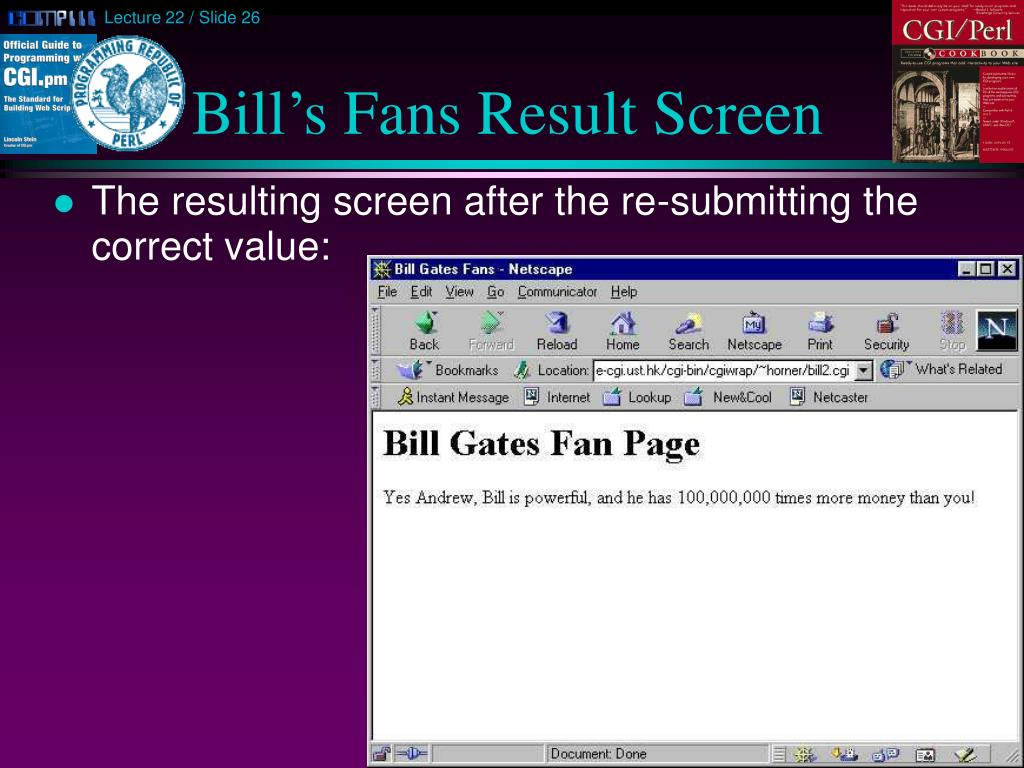 Bill's Fans Result Screen