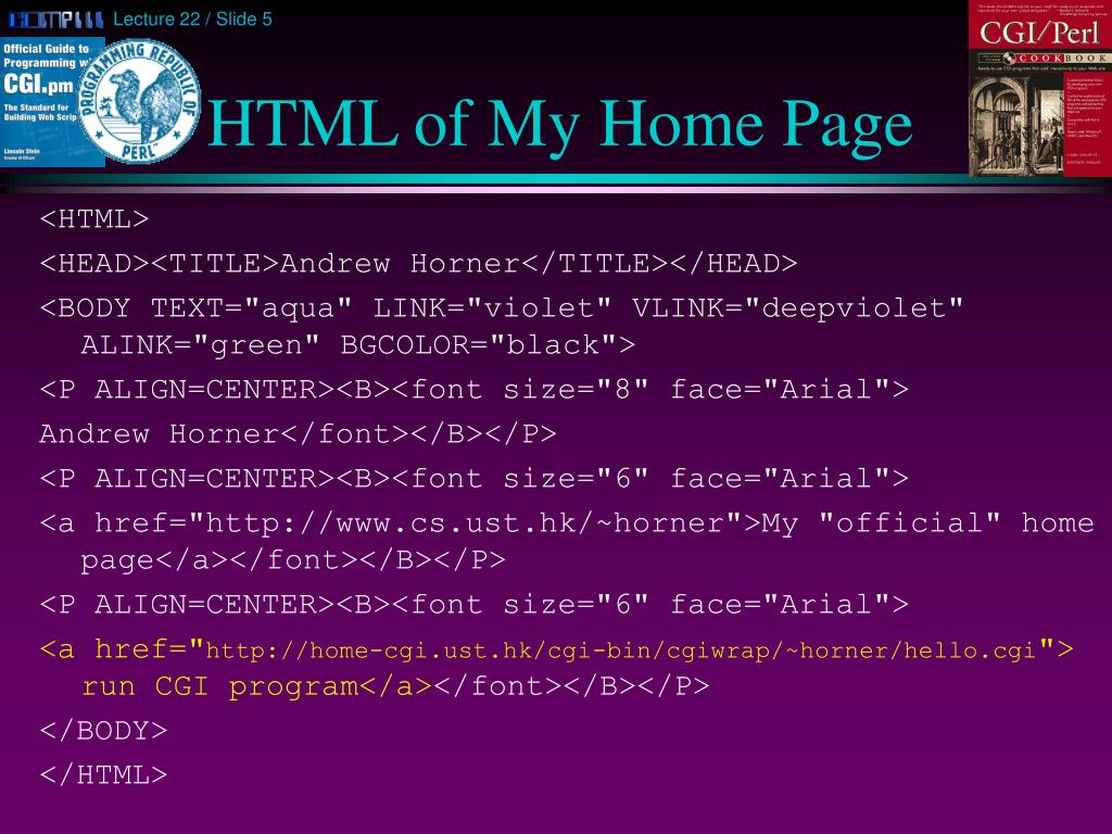 HTML of My Home Page