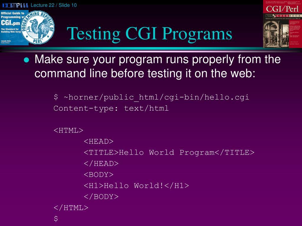 Testing CGI Programs