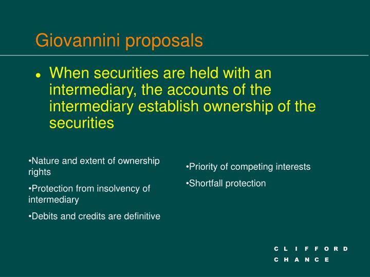 Giovannini proposals