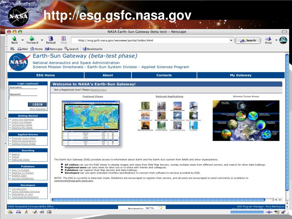 http://esg.gsfc.nasa.gov