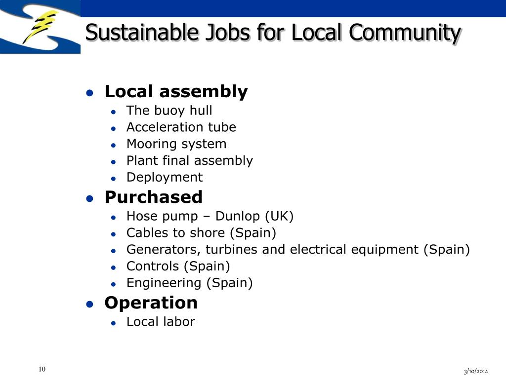 Sustainable Jobs for Local Community