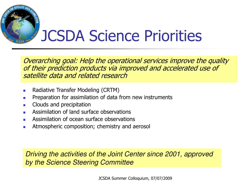 JCSDA Science Priorities