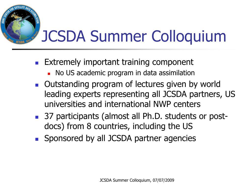 JCSDA Summer Colloquium