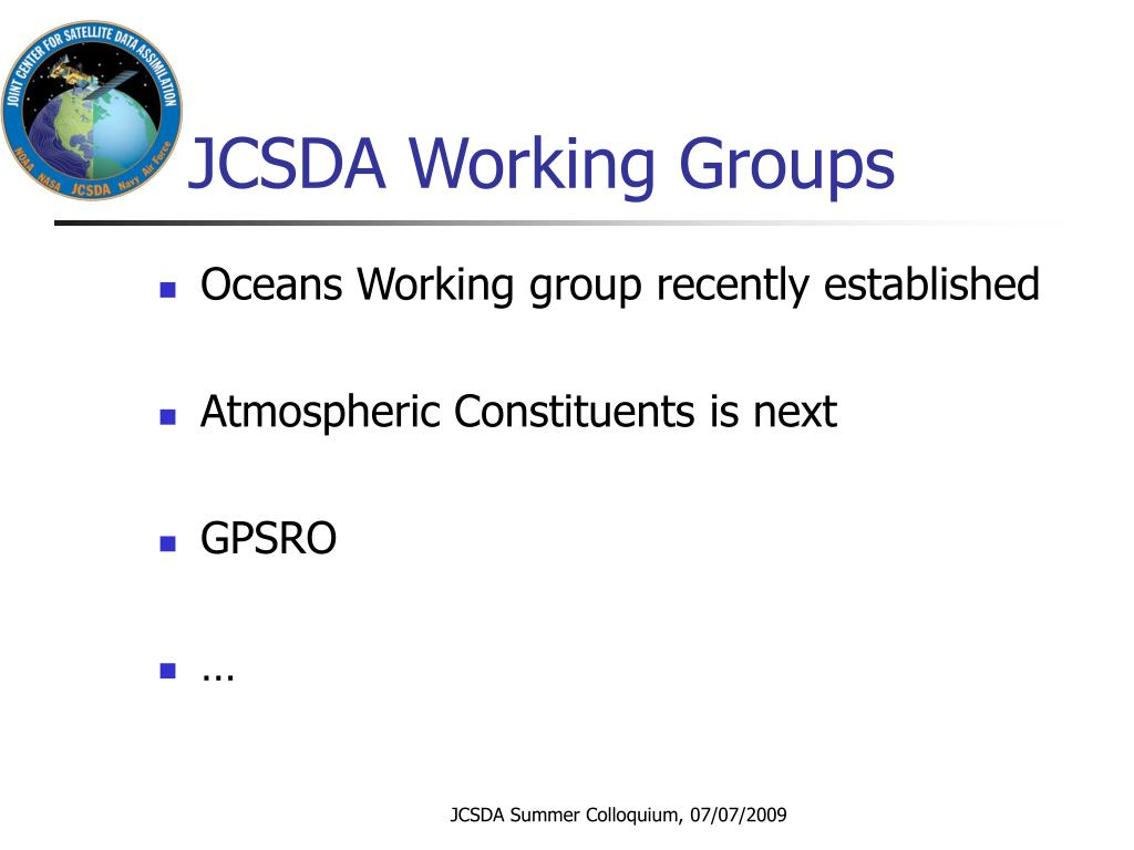 JCSDA Working Groups