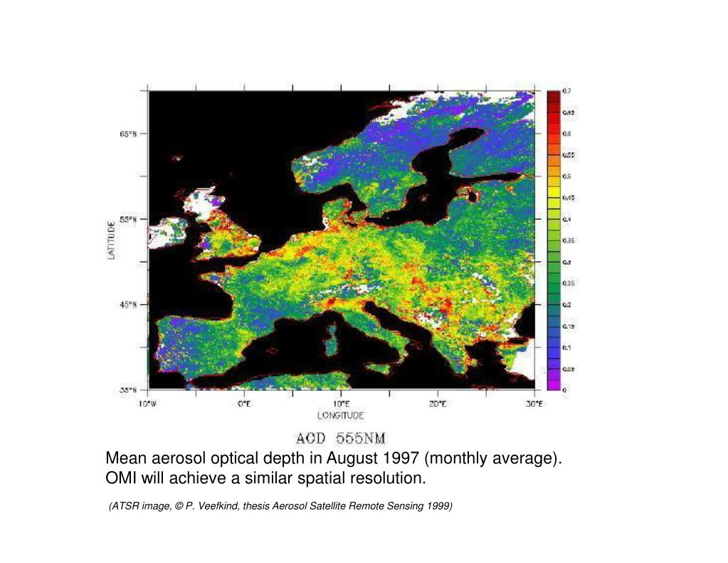 Mean aerosol optical depth in August 1997 (monthly average).