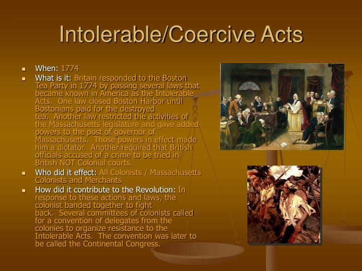 Intolerable/Coercive Acts