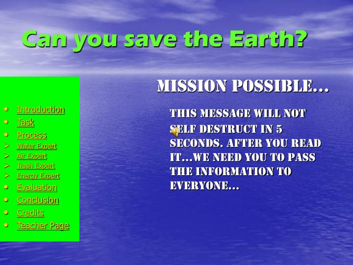 Can you save the earth
