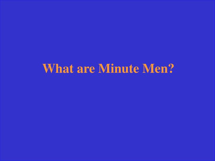 What are Minute Men?