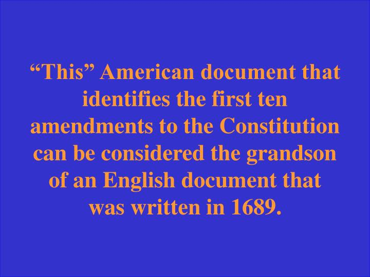 """This"" American document that"