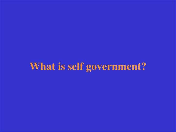 What is self government?