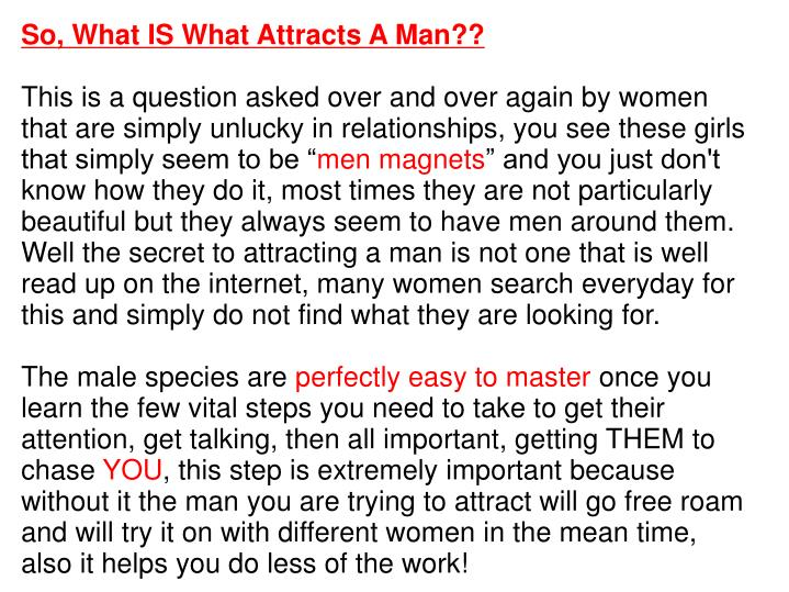 So, What IS What Attracts A Man??