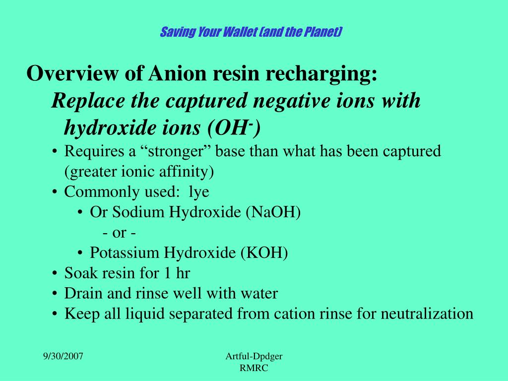 Overview of Anion resin recharging: