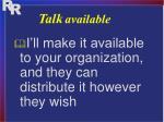 talk available