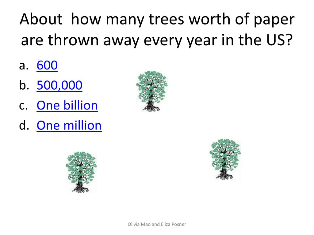 About  how many trees worth of paper are thrown away every year in the US?