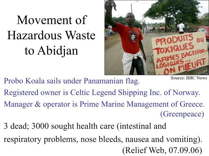 Movement of Hazardous Waste to Abidjan