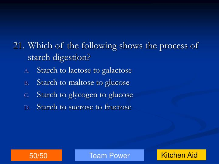 21.Which of the following shows the process of starch digestion?