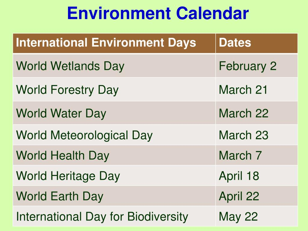 Environment Calendar