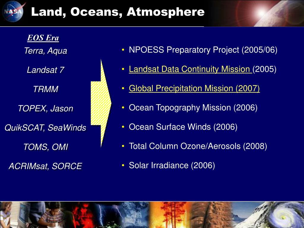 Land, Oceans, Atmosphere