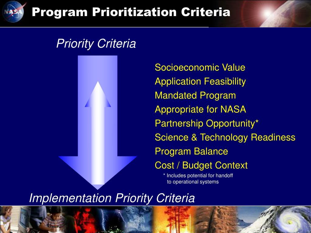 Program Prioritization Criteria
