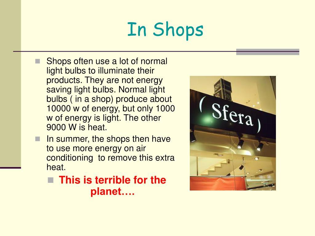 In Shops