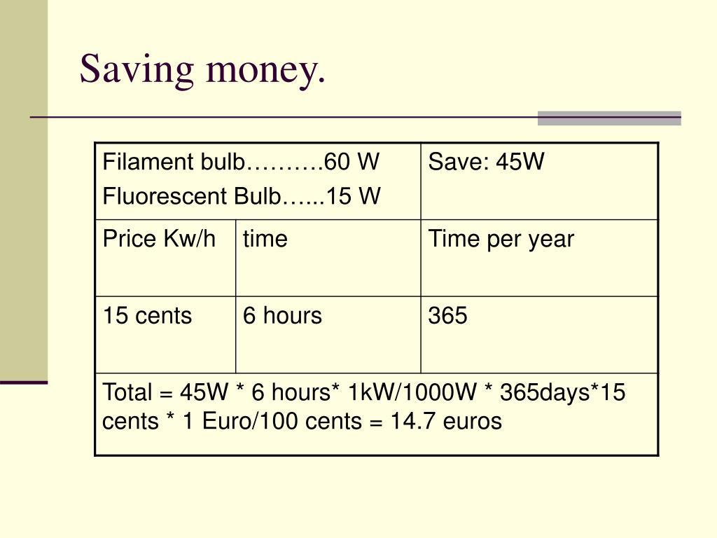 Saving money.